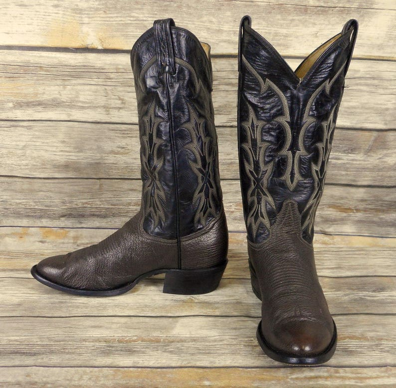 3a80e32bca7 Tony Lama Cowboy Boots Two Tone Brown Leather Mens Size 7.5 D Country  Western