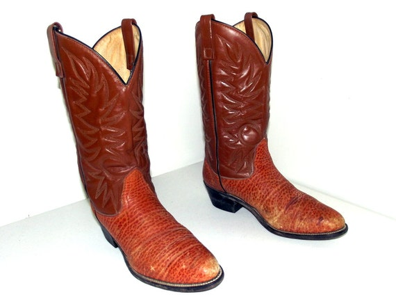 cowgirl 5 cowboy boots brown size or size Vintage 10 Tan D 11 qHwPZ448W