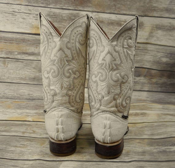 Reptile Toroz Pointy Leather 5 Mens White Crocodile Distress 6 Cowboy Boots Toe RwwUxpAqv