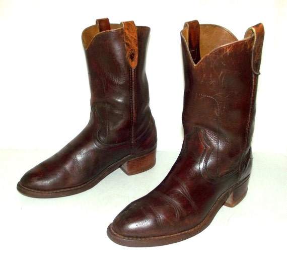 bottes D 10 pour Cowboy taille western Brown 8 Vintage homme de Rockabilly 5 chaussures BYqnCw