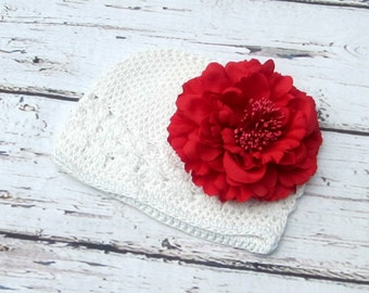 cf09c2de1b5 Baby white hat infant girls cap red mum flower beanie hat