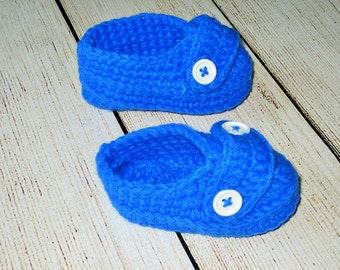 Blue loafers baby crochet shoes boy booties slip ons photo prop infant knitted pull on slippers birthday