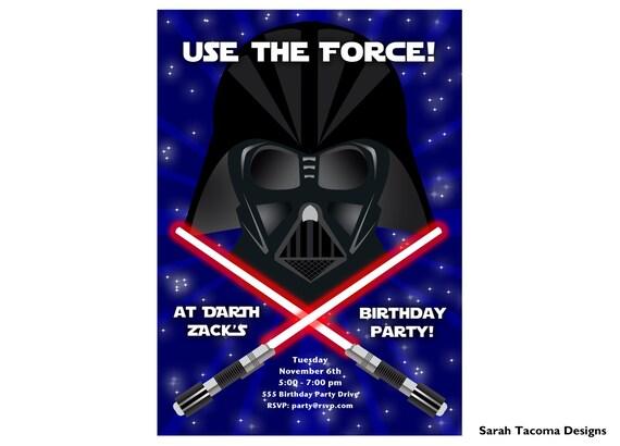 STAR WARS Birthday Party Invitation Darth Vader Jedi Light
