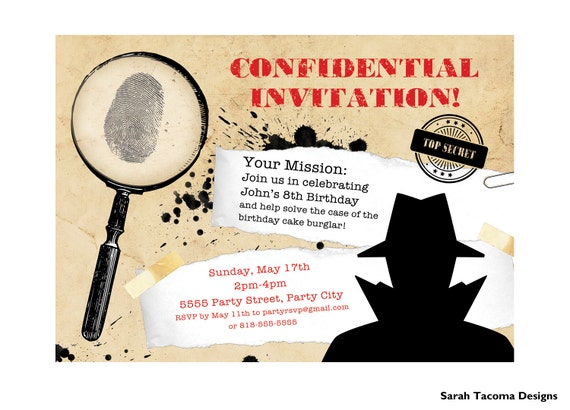 secret agent spy birthday party invitation customized etsy