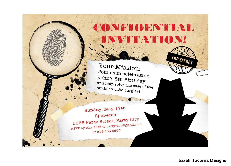 Secret Agent Spy Birthday Party Invitation. Customized.   Etsy