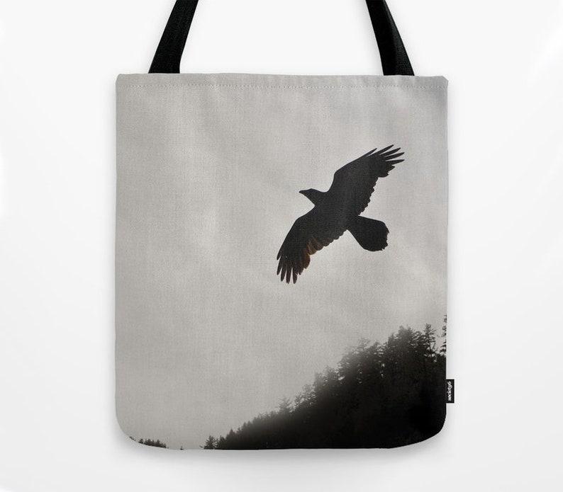 Oregon Coast Raven northwest beach bag canvas market bag Tote Bag Red-Tail Hawk Washington nature art sepia wildlife photo bird