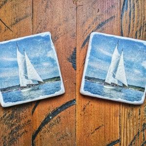 kitchenwares nautical decor northwest bartender gift, Crab Fishing Boat Marble Coaster Set art tile fishing decor nautical art cafe
