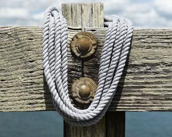 Grey Rope Nautical Cotton Decor, Beach Decor, Wood Decor, Upcycled Nautical, Nautical Decor, Vintage Boat Decor, Boat Art, Fishing Rope