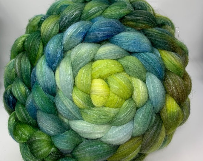 Spinning Fiber Organic Polwarth/Bombyx 80/20, Combed Top - 5oz - Fairy Ring 1