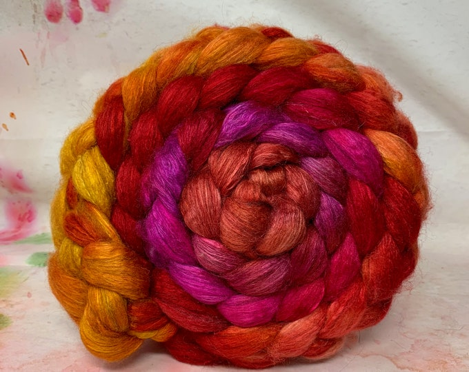 Spinning Fiber BFL/Bombyx 75/25 Combed Top - 5oz - Marmalade 1