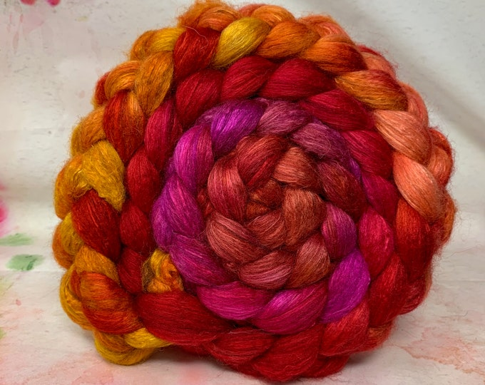 Spinning Fiber BFL/Bombyx 75/25 Combed Top - 5oz - Marmalade 2