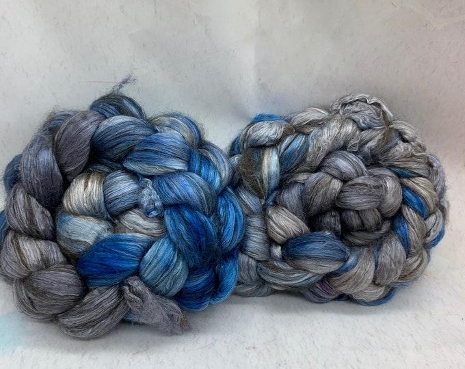 Merino 14.5/Yak/Bombyx Silk 20/40/40 Combed Top - 5oz - Magpie 2