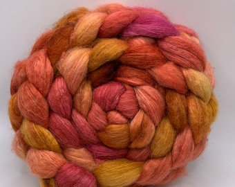 BFL/Cashmere/Bombyx 50/25/25 Roving Combed Top - 5oz - Marmalade 1