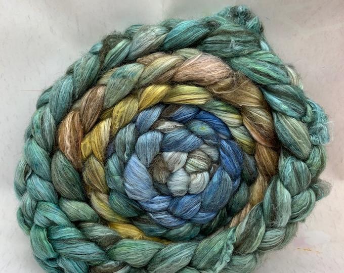 Merino 14.5/Yak/Bombyx Silk 20/40/40 Combed Top - 5oz - Seaweed 1