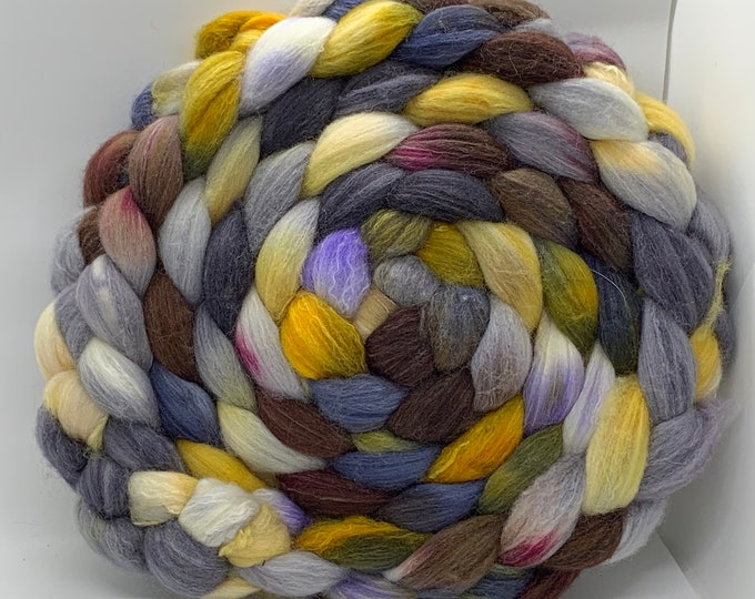 Spinning Fiber Organic Polwarth/Bombyx 80/20, Combed Top - 7.5oz - Cliff Dive 2