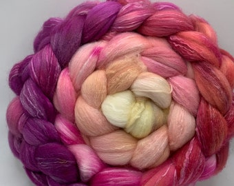 Spinning Fiber Organic Polwarth/Bombyx 80/20, Combed Top - 5oz Peach Mimosa 2