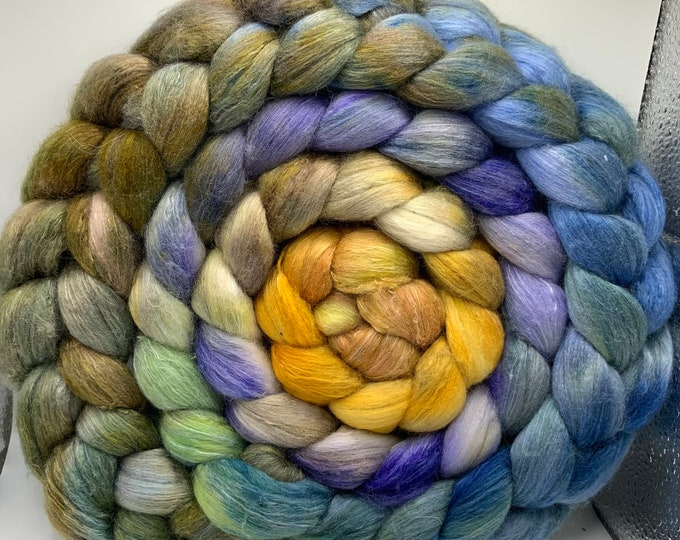 Spinning Fiber Organic Polwarth/Bombyx 80/20, Combed Top - 9.5oz Spring Forest 2