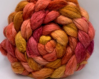 BFL/Cashmere/Bombyx 50/25/25 Roving Combed Top - 5oz - Marmalade 2