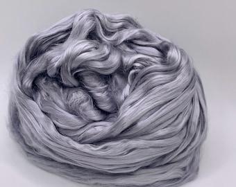 Spinning Fiber Mulberry Silk - 2oz - Cool Grey