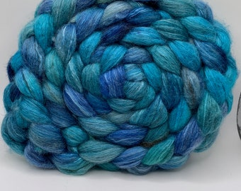BFL Swirl/Bombyx 75/25 Combed Top - 5oz - Blue Eared Starling 1