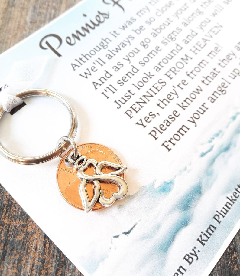 Pennies From Heaven Keychain - Original Poem - With Penny & Beautiful  Infinite Love Angel Charm