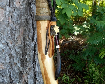 """Hiking Staff, Rugged 63"""" Walking Stick with Braided Leather, Bark Grip, Maple Wood"""