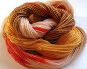 Yarn, sock-weight, wool, washable, peach, orange, brown, soft, baby