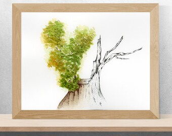 "Watercolor | Tree | Botanical | Ink | Stipple | Print | ""Healing"""
