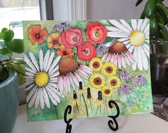 "Watercolor | Original | Floral | Illustration | Abstract | Botanical | ""Floral Fiesta"""