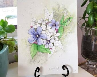 "Watercolor | Original | Floral | Ink | Botanical | ""Forget Me Not"""
