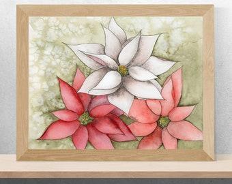 "Watercolor | Poinsettia | Print | Christmas Decor | ""Poinsettias"""
