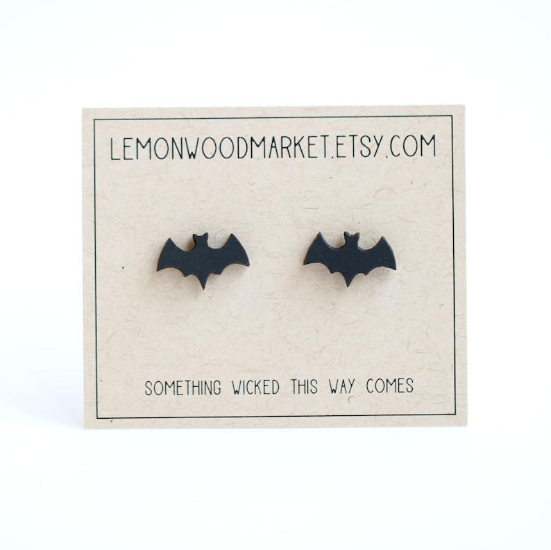 Bat earrings  alder laser cut wood earrings  Halloween image 1