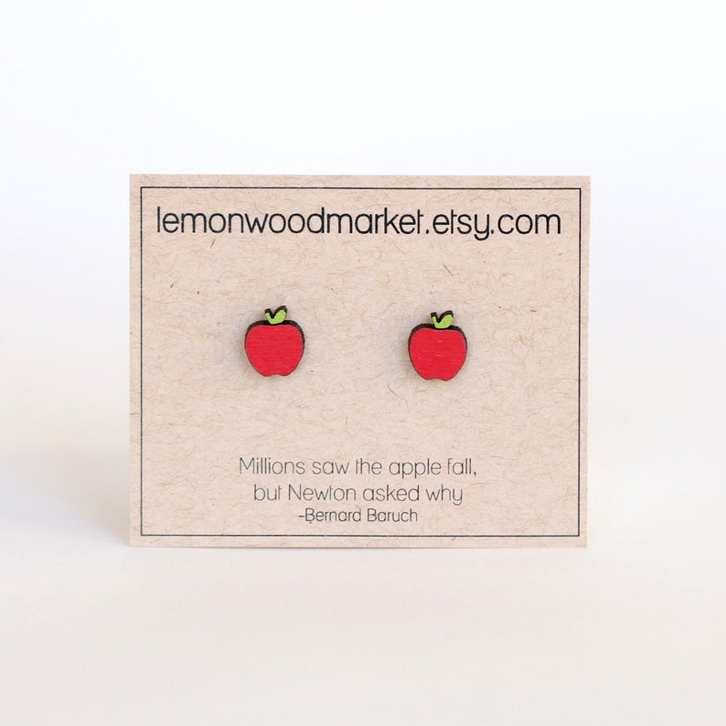 Apple earrings alder laser cut wood earrings Teacher image 0
