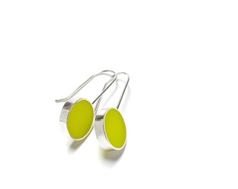 Don't Stop Earrings chartreuse resin and sterling silver