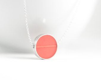 Don't Stop Necklace -- Sterling silver and peach resin circle pass thru pendant bright salmon pink coral