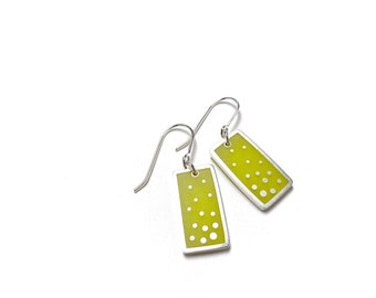 Dashed Earrings silver resin chartreuse