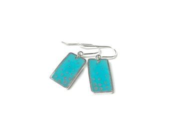 Dashed Earrings silver resin scuba blue aqua