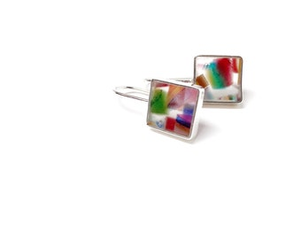 Hey Hey Earrings Multi Colored Stripes Square