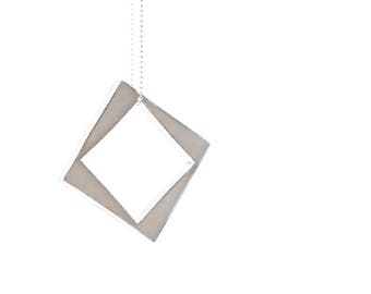Panic Necklace made to order gray sterling silver and resin square