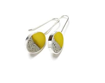 Terrain Earrings in yellow sterling silver resin cement