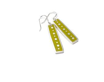 Echo Earrings sterling silver resin dots moss green