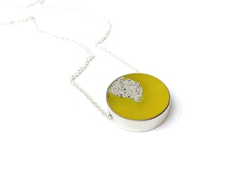 Don't Stop Necklace with cement in yellow circle