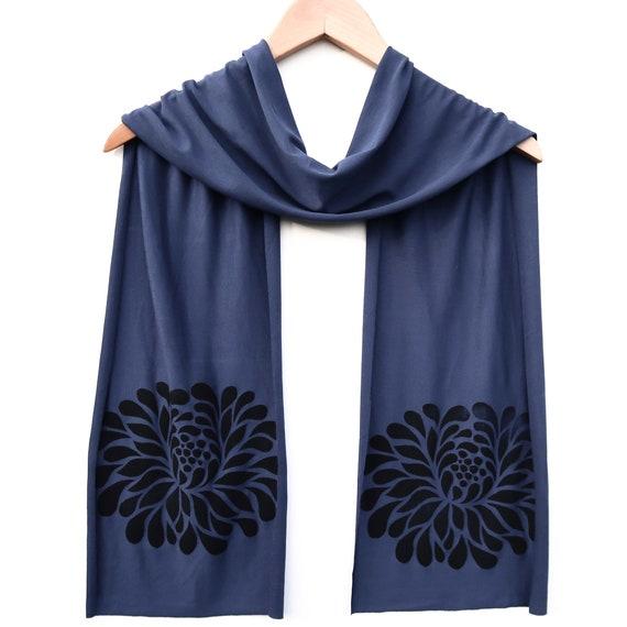Blue Scarf Pink Green Floral Wrap Ladies Navy Allium Flowers Shawl Flower Print