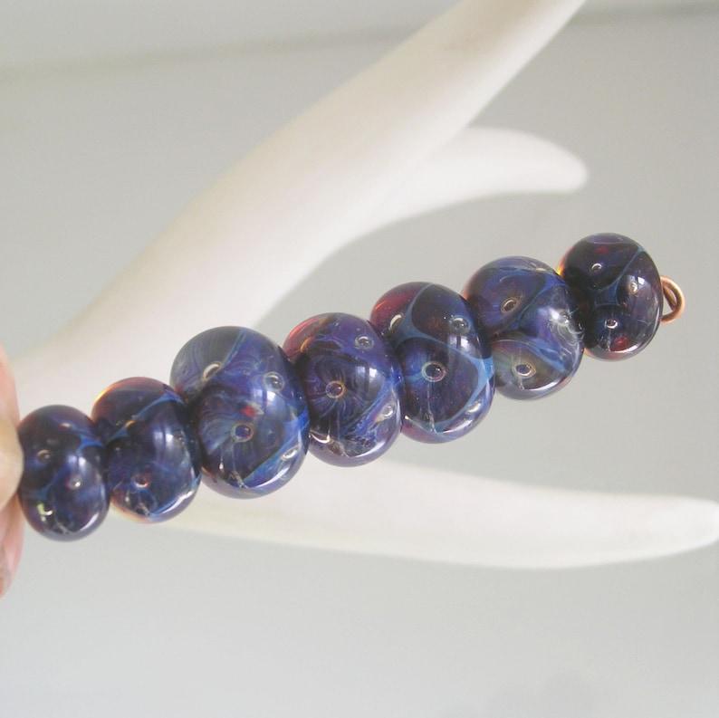 Navy Violet Boro Lampwork Glass Beads 15mm to 19mm Artisan Handmade Set of 7