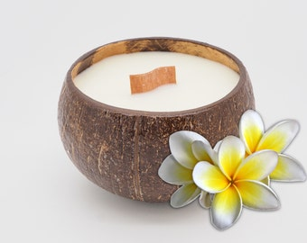 Soy candle in a coconut shell