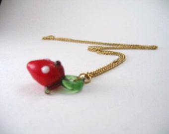 Vintage Strawberry Necklace glass strawberry pendant on chain from 1970s