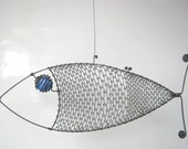 Wire Animal Sculpture Blue - Eyed Wire Fish