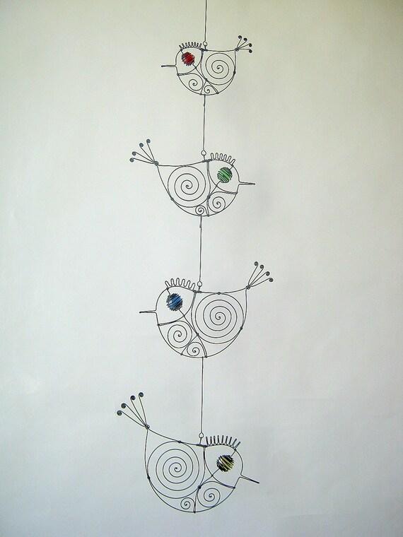 Draht-Kunst-Wand-Dekor vier Draht Vögel Mobile Skulptur | Etsy