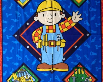 """Rare Bob the Builder Blanket/ Wall Hanging Cotton Fabric Panel 36"""" x 45"""" wide Cranston VIP OOP 2002"""