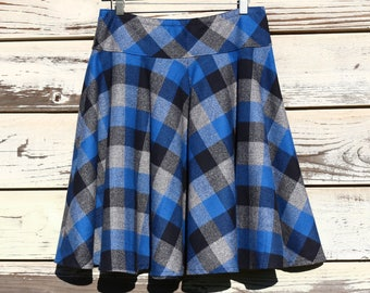 and lengths Flannel Skirt Simple A-line Warm Winter skirt Buffalo Check Flannel skirt Custom made in all sizes Skirt with Pockets